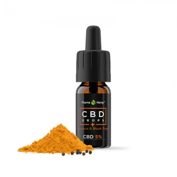 Pharma Hemp   Σταγόνες Ελαίου CBD με Κουρκουμίνη & Μάυρο Πιπέρι 5% (500mg CBD) - 10ml
